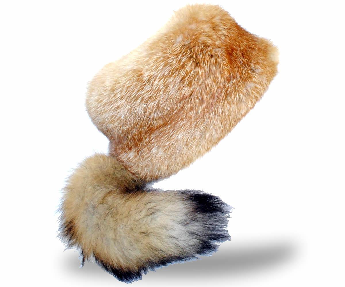 Czapka futrzana z lisa ruda